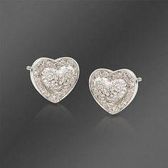 Diamond Heart Earrings in Sterling Silver. Diamond Heart, Diamond Studs, Diamond Jewelry, Scott Kay Jewelry, Heart Earrings, Stud Earrings, Jewelry Box, Fine Jewelry, Inexpensive Jewelry