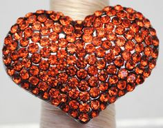 Orange Rhinestone Heart Cocktail Ring/Statement Ring/Gift For Her/Fall Jewelry/Halloween Jewelry/Under 20 USD/Adjustable - pinned by pin4etsy.com