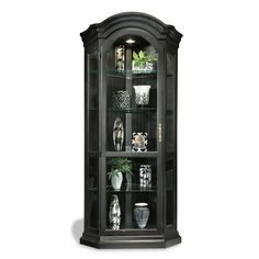 Darby Home Co Shelia Solid Poplar Lighted Corner Curio Cabinet Corner Display Cabinet, Corner Curio, Display Cabinets, Corner Cupboard, Cabinet Furniture, Dining Furniture, Painted Furniture, Refurbishing Furniture, Salvaged Furniture