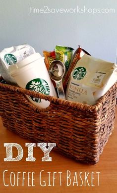 13 Themed Gift Basket Ideas for Women, Men & Families! 13 Themed Gift Basket Ideas for Women, Men & Families! diy-coffee-gift-basket<br> These 13 themed gift basket ideas will kick your gift-giving game up a notch! Fun ideas for women, men and families. Themed Gift Baskets, Diy Gift Baskets, Christmas Gift Baskets, Wine Baskets, Diy Christmas Gifts, Raffle Baskets, Basket Gift, Gift Basket Themes, Theme Baskets