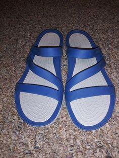 1f2c0b7ab7855 Crocs Iconic Comfort Slide Wedge Black Sandals Womens Size 10 MINT  fashion   clothing
