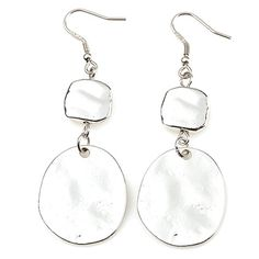 SILVER DROP Item #: USML200009 These silver earrings have been polished and hammered to reflect light in eye-catching ways. They're especially attractive with the Blue Taffy necklace, but they're also simple enough to complement any silver necklace. Measures 2.25 inches. Your Price:$30.00