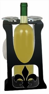 #Wine #Holder #Caddy with the #Fleur-De-Lis #Design - hold 2 wine glasses and 1 wine bottle, not inc. http://www.okdecor.com/wrought-iron-wine-caddy-two-glass-holder-fleur-de-lis-design.html#.UM-qM6D3SnA