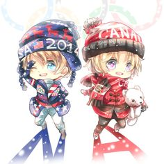 Hetalia ~ chibi North American brothers Sochi by Evil-usagi.deviantart.com on @deviantART