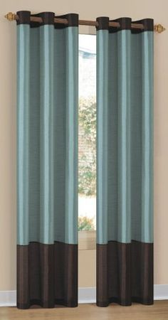 Duck River Textile Britney 2-Tone Grommet Panel, Aqua/Blue/Brown by Duck. $19.99. Grommets measure 3-inch in diameter. Easy slide grommets. Two-toned. Bring modern design to your home decor with this Britney faux silk curtain panel. A 2-toned color design highlights this elegant curtain panel.