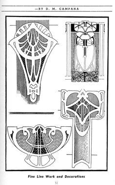 Art Nouveau designs - Quilling Deco Home Trends Motifs Art Nouveau, Art Nouveau Mucha, Design Art Nouveau, Motif Art Deco, Art Nouveau Pattern, Art Deco Art, Pattern Art, Art Art, Scroll Pattern