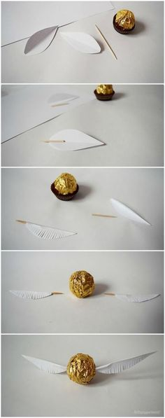 lottapeppermint: The Golden Snitch. A Harry Potter DIY made from Christmas chocolate.lottapeppermint: The Golden Snitch. A Harry Potter DIY made from Christmas chocolate.An adorable Dobby cardAn adorable Dobby card Baby Harry Potter, Harry Potter Baby Shower, Natal Do Harry Potter, Harry Potter Navidad, Harry Potter Motto Party, Harry Potter Weihnachten, Gateau Harry Potter, Harry Potter Thema, Harry Potter Fiesta