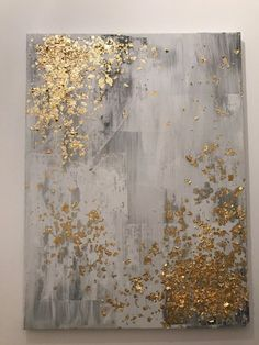 Light grey and gold leaf abstract painting by PJPaintingsArt