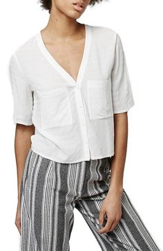 Topshop 'Holly' Short Sleeve V-Neck Shirt available at #Nordstrom
