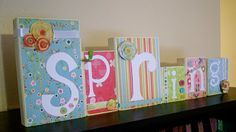 Another cute block idea! I am loving the wood blocks with words.. like the ribbons and flowers.