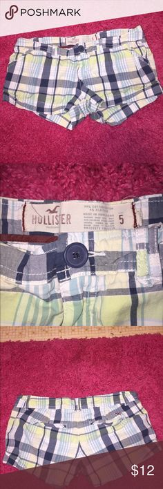 Hollister Plaid Shorts Super cute Blue/Green Plaid Hollister Shorts! Waist Measurement is 27in. Inseam 2in. Rise 7in. Made of 96% Cotton 4% Elastane. In excellent condition no rips or stains just need some ironing! ✨Same Day/Next Day Shipping✨  ✨I always describe my items the best I can including flaws & defects✨ Hollister Shorts