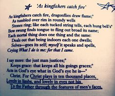 """As Kingfishers Catch Fire"" by Gerard Manley Hopkins"