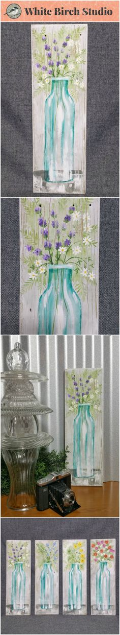"Spring Flowers, wildflower painting, Farmhouse decor, Pallet wall art, White washed reclaimed wood, Hand painted flowers, blue glass vase, fern, lavender, daisies   Original Acrylic painting on reclaimed white-washed board measuring 17"" wall by 5 1/2""  Are you ready for a TOUCH of Spring artwork for your home? These fun pieces can be added to any decor to give it a unique, shabby, farmhouse update. Each piece is hand painted for you and sanded for an aged appearance."