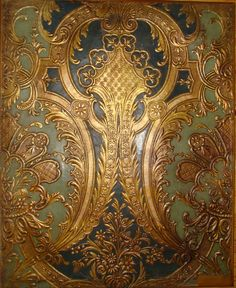 Stamped and Gilded Leather Panel: Leather Wall, Leather Tooling, Ceiling Tiles, Ceiling Design, Mural Art, Beautiful Buildings, Soft Furnishings, Designer Wallpaper, Textured Walls