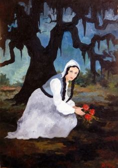 'The Last Novena for Gabriel' ~ George Rodrigue, 1985-1989 (part of the series 'The Saga of the Acadians').    Longfellow's Evangeline.