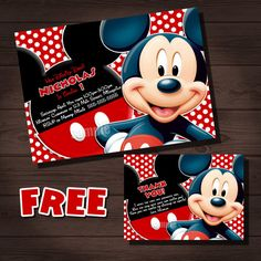 MICKEY MOUSE Birthday Invitation, FREE Mickey Mouse Thank You Card, Mickey Mouse Invitation, Printable Mickey Mouse, Custom Party Shoppe on Etsy, $5.00