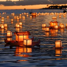 Lantern Floating in Honolulu, Hawaii. Every year on Memorial Day, tens-of-thousands of people gather on Oʻahu's south shore joined by many from around the world via live streaming and telecast to honor those who have sacrificed their lives in war, for loved ones who have passed away and to generate hope toward a harmonious and peaceful future.