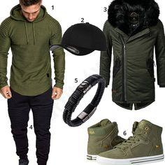 Grün-Schwarzer Streetstyle mit Longsleeve und Parka (m0715) #outfit #style #herrenmode #männermode #fashion #menswear #herren #männer #mode #menstyle #mensfashion #menswear #inspiration #cloth #ootd #herrenoutfit #männeroutfit