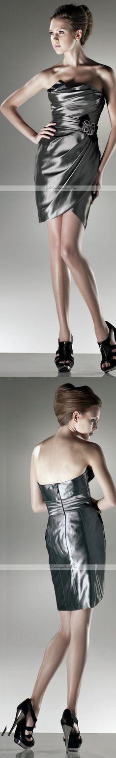 Strapless mini length taffeta dress
