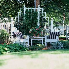 Create a Cozy Backyard Corner Tuck in a small sitting area amid the beds. Create, a cozy corner with an angled trellis and a pair of pillow-packed Adirondack chairs. The tall trellis also does a good job of hiding an unsightly utility pole