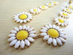 Heronsbill flower bib statement necklace on Etsy, $15.99