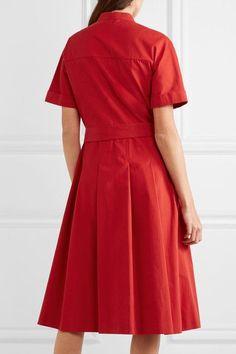 Vanessa Seward - Dune Belted Pleated Cotton-gabardine Dress - Red - FR