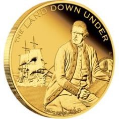 The Land Down Under Captain James Cook 2013 Gold Proof Coin Captain James Cook, Silver Investing, Gold And Silver Coins, Mint Coins, Bullion Coins, Proof Coins, Effigy, Map Outline, Royal Navy