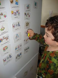 daily rhythms chart - on cards with magnets