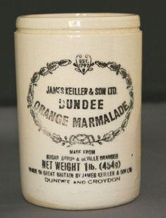 The original English orange marmalade was invented in 1797 by Janet Keiller who ran a small shop, specialising in sweet products and preserves, with her son James – together they opened a factory and production of the famous Dundee Marmalade began!