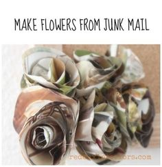 Don't throw out your old catalouges!  Make flowers from your catalogues and Junk Mail. REDOUXINTERIORS.COM FACEBOOK: REDOUXINTERIORS Crafts For Teens, Fun Crafts, Magazine Crafts, How To Make Beads, How To Make Paper, Funky Junk, Fabric Flowers, Paper Flowers, Scrapbook Paper Crafts