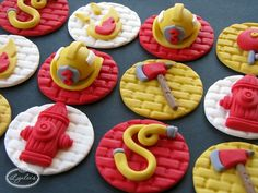 Fondant Firefighter Cupcake Decorations