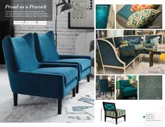 Trend: Proud as a Peacock Peacock Blue, Teal, Turquoise, Cerulean, Mid Century Modern Furniture, Fall 2015, High Point, Living Area, Living Room Designs