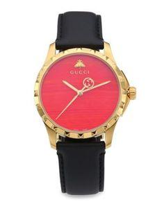 GUCCI Le Marché Des Merveilles Synthetic Coral, Goldtone Pvd & Leather Strap Watch. #gucci #watch