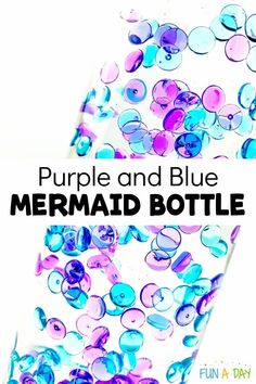 Easy instructions to make your own DIY sensory bottle with a purple and blue mermaid theme!! Great for a preschool fantasy unit, for behavior management in the classroom or at home, or just for fun! Sensory Activities For Preschoolers, Feelings Activities, Early Learning Activities, Kids Learning, Ocean Lesson Plans, Preschool Lesson Plans, Preschool Themes, Preschool Science, Sensory Bottles