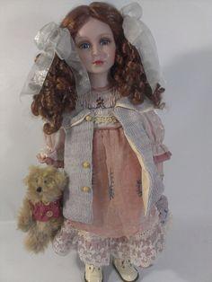 Auburn Hair in Curls holding Teddy Bear & knitted handbag. Auburn Hair, Plush Animals, Curled Hairstyles, Porcelain Doll, Harajuku, Curls, Teddy Bear, Memories, Awesome Stuff