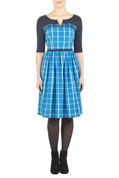 I <3 this Cotton check notch neck dress from eShakti