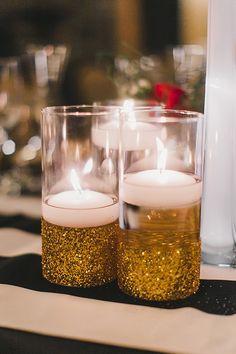 Floating candles in DIY glitter gold vases #goldglitter