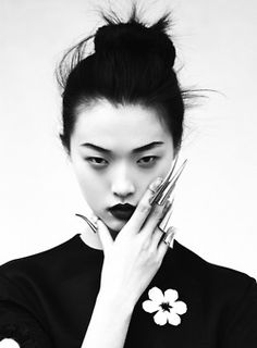 jewelry Black and White fashion chic nails bun fierce fashion photography elle Edgy photo shoot high fashion stare asian model elle magazine...