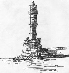 James Anzalone. Sketch of the Lighthouse in Chania Harbor, Greece