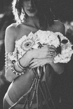Black & White Bohemian Hippie Gypsy Floral Fashion