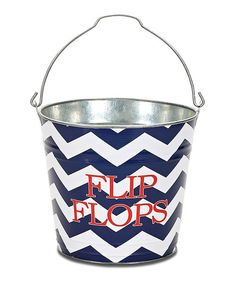 Take a look at this Rugby Zigzag Navy Personalized Bucket on zulily today!