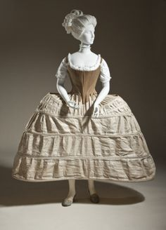 Woman's Corset England, circa 1780 Costumes; underwear (upper body) Linen twill and baleen Center back length: 14 7/8 in. (37.7825 cm)