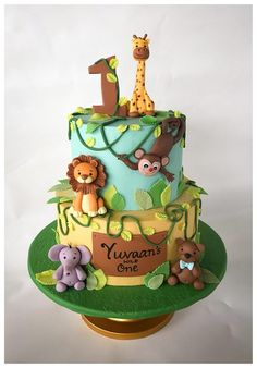 Its a wild - cake by Homebaker Jungle Birthday Cakes, Jungle Theme Cakes, Animal Birthday Cakes, Safari Cakes, Safari Theme Birthday, Baby Boy 1st Birthday Party, Themed Birthday Cakes, Themed Cakes, 1st Birthday Decorations Boy