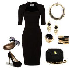 """Classic Black & Gold"" embellishment and dress"