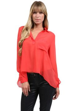 The Pocket Collared Top in Coral by M.Fredric Collection from MFredric.com