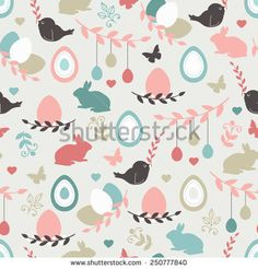 Vector seamless pattern with cute retro icons for Easter design. Easter background. - stock vector
