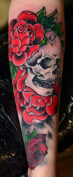 skull & roses tattoo design