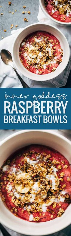 Inner Goddess Raspberry Breakfast Bowls - ready in 20 minutes, loaded with nutrients, perfect for healthy breakfasts on the go!