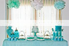 Aqua Mermaid Dessert Table Birthday Party | enchantingdetails.com