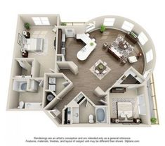 The Elizabeth is the largest floor plan that Elizabeth Square has to offer. This stunning 2 bedroom, 2 bathroom has - Zimmer - Home Design Plans, Plan Design, Home Interior Design, Interior Architecture, Amazing Architecture, Architecture Portfolio, Diy Interior, Rendering Architecture, Bathroom Interior